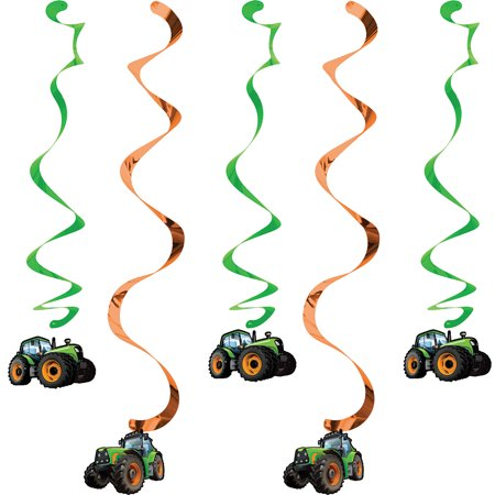 Club Pack of 30 Green Tractor Dizzy Danglers Party Hanging Decorations 36