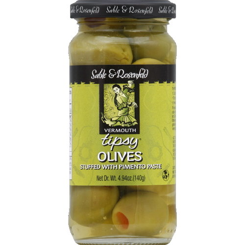 Sable & Rosenfeld Tipsy Stuffed Olives With Pimento Paste, 4.94 oz (Pack of 6)