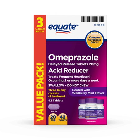 (2 Pack) Equate Acid Reducer Omeprazole Delayed Release Wildberry Mint Tablets, 20 mg, 42 Ct, 3 Pk - Treats Frequent