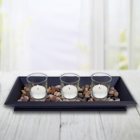Votive Candle Holder Tray with Stones