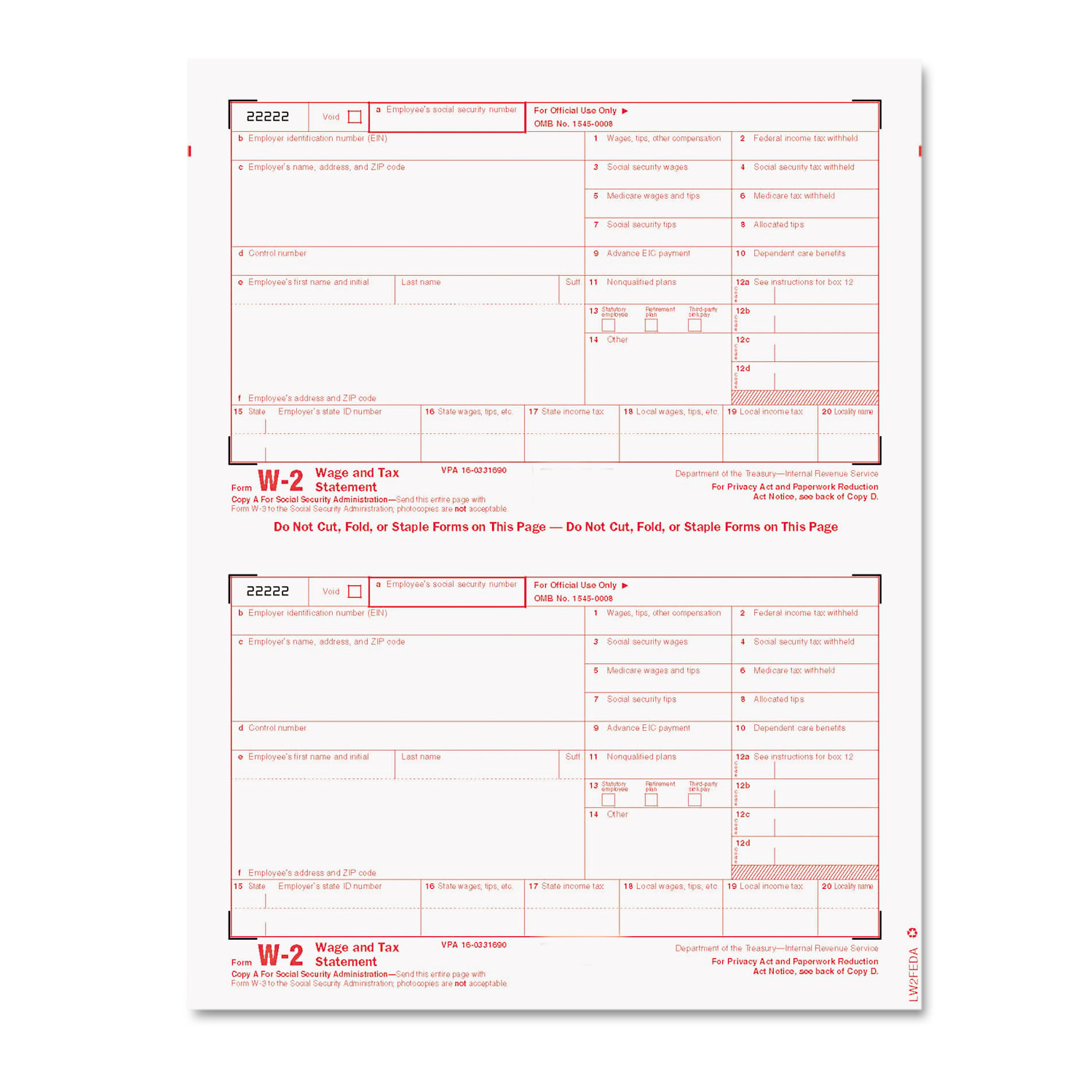 W-2 Tax Form/Envelope Kits, 8 1/2 x 5 1/2, 6-Part, Inkjet/Laser ...