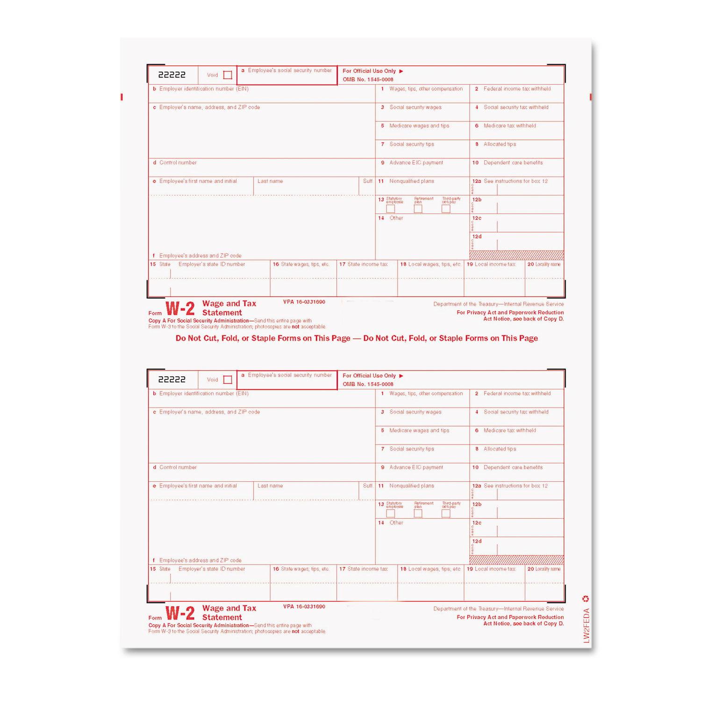 W-2 Tax Form/Envelope Kits, 8 1/2 x 5 1/2, 6-Part, Inkjet/Laser, 24 W-2s & 1 W-3