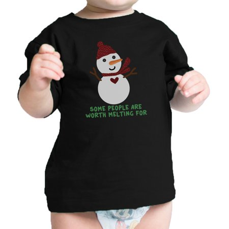 Baby Snowman (Worth Melting For Snowman Cute Baby Graphic T-Shirt Black Baby)
