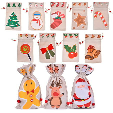 12 Pack Goodie Bags, Christmas Drawstring Gift Bags,Christmas Gift Bags for Kids, Christmas Presents, Wedding Decoration, Christmas Party Favors and More - Bags For Presents