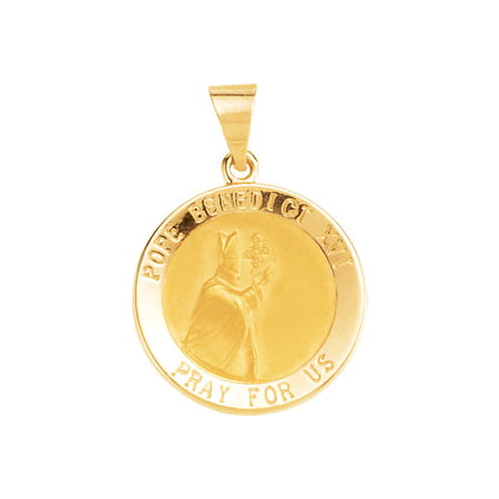 Jewels By Lux 14K Yellow Gold 18mm Round Hollow Benedict XVI Pope - Pope Benedict Xvi Medal