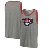 Washington Nationals Fanatics Branded Cooperstown Collection Huntington Tri-Blend Tank Top - Heathered Gray