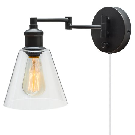 Globe Electric LeClair 1-Light Dark Bronze Plug-In or Hardwire Industrial Wall Sconce, 65311 ()