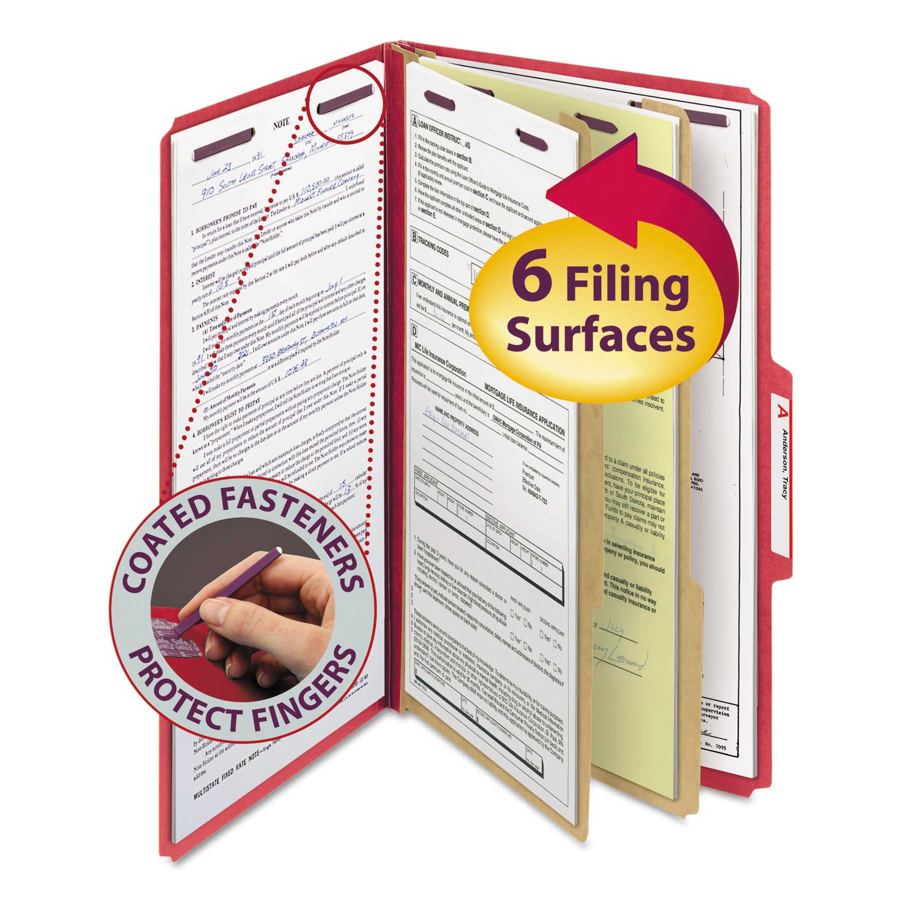 Smead Pressboard Classification Folders, Legal, Six-Section, Bright Red, 10/Box -SMD19031