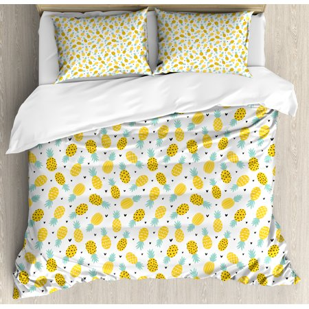 Exotic Queen Size Duvet Cover Set, Hand Drawn Pineapples and Hearts Doodle Fresh Summer Food Illustration, Decorative 3 Piece Bedding Set with 2 Pillow Shams, Yellow Sea Green Black, by (Bedding Food)
