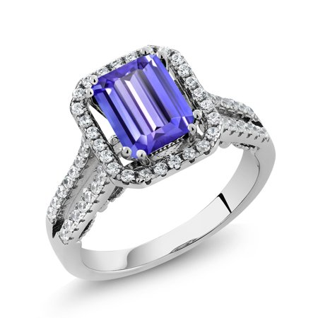 3.08 Ct Emerald Cut Blue Tanzanite 925 Sterling Silver Ring