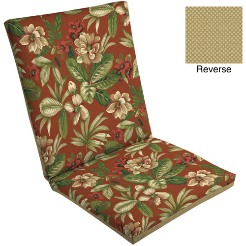 Mainstays Outdoor Dining Chair Pad, Red Tropical