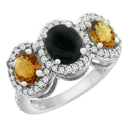 10K White Gold Natural Black Onyx & Whisky Quartz 3-Stone Ring Oval Diamond Accent, size 5