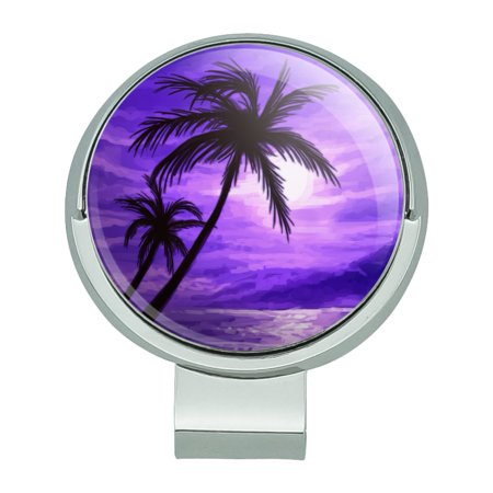 Purple Sunset Beach Palm Tree Hawaii Paradise Golf Hat Clip With Magnetic Ball