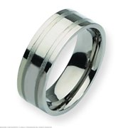Titanium Grooved 8mm Mens Wedding Ring Band Size 10