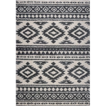 Ladole Rugs Stylish Contemporary Trellis Smooth Area Rug Carpet in Ivory-Light Grey 8x11 (7'10