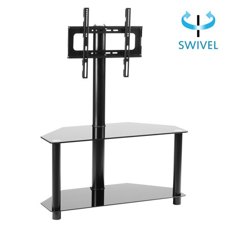 Black Friday Deals RFIVER 32-55 Inches Black TV Stand with Swivel Bracket and Mount, 2-Tier Glass Shelves, TW2001