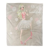 ASHLEIGH Throw Blanket 58x80 Inches Baby Beautiful Cute Girl Ballerina in Tutu Skateboard Ballet Adult Beauty Blonde Warm Flannel Soft Blanket for Couch Sofa Bed