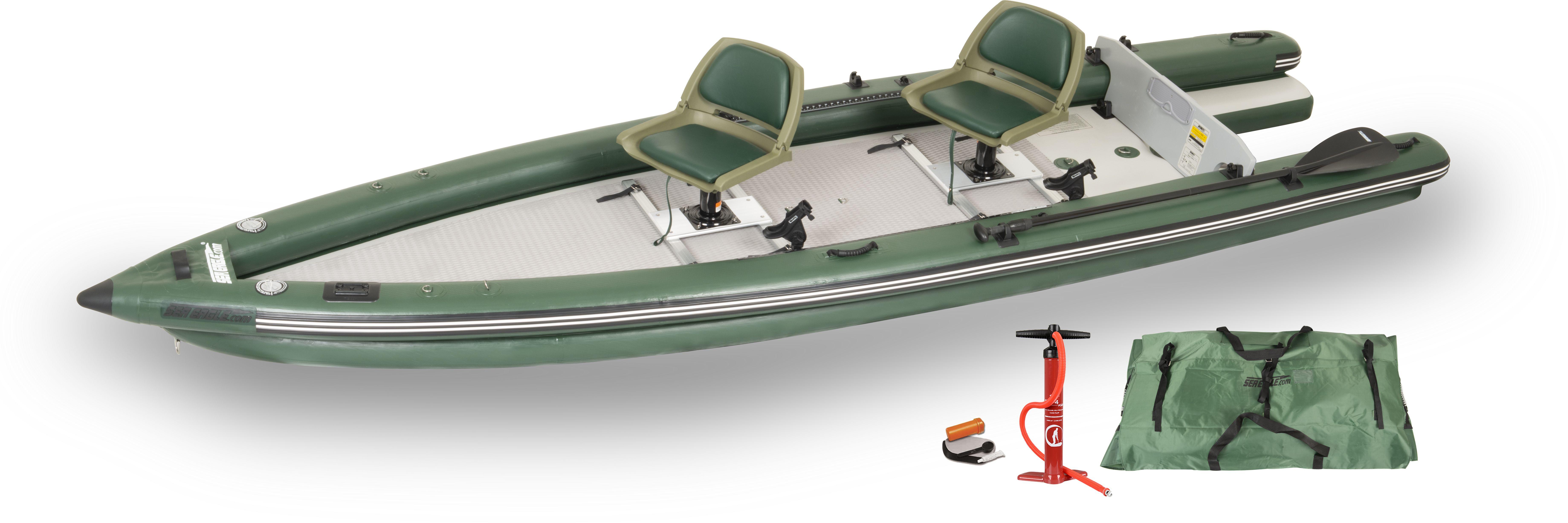 Sea Eagle FSK16 Inflatable FishSkiff 16 Frameless Fishing Boat – 2 Person Swivel Seat Package