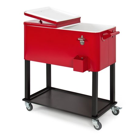 Best Choice Products 80-Quart Outdoor Steel Rolling Cooler Cart w/ Bottle Opener and Catch Tray, Drain Plug, and Locking Wheels, Red ()