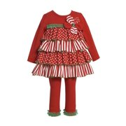 Bonnie Jean Collection : Girls Holiday Stripe Tiered Pant Set 6