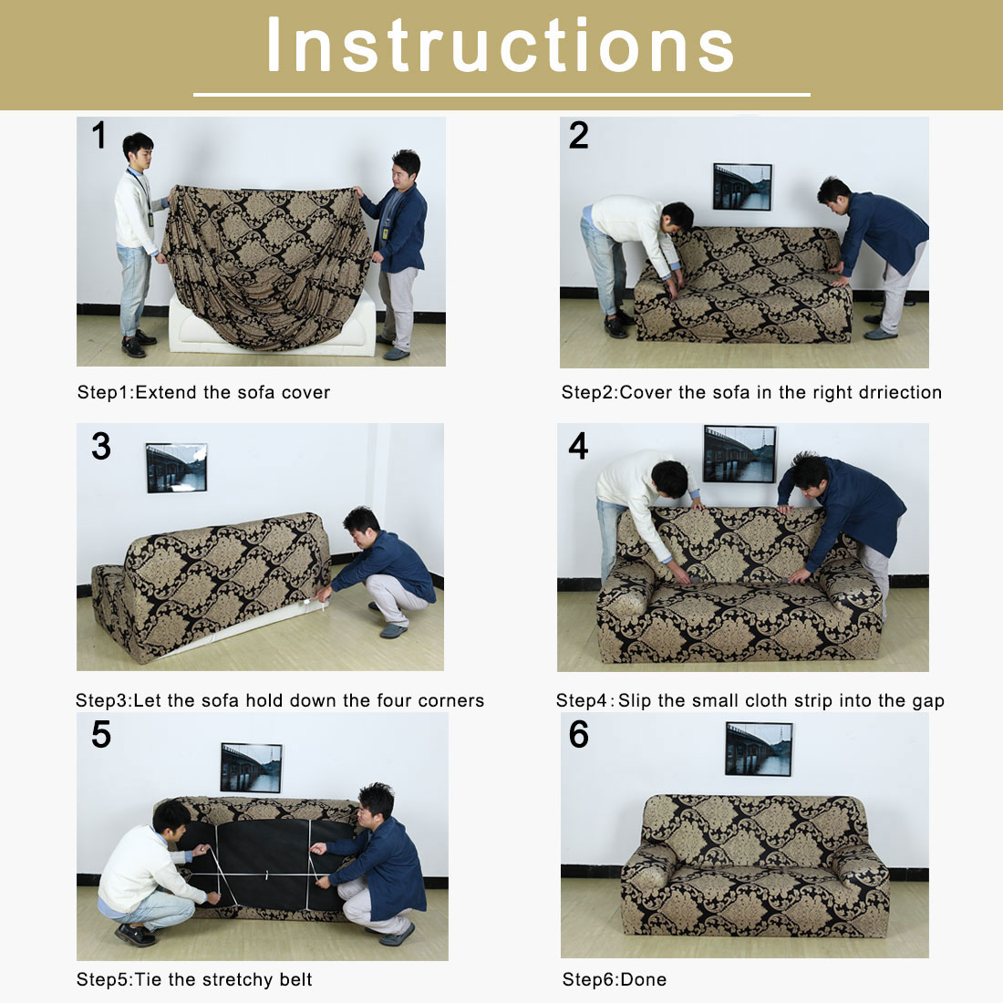 Home Sofa Cover 1 2 3 4 Seater Cover Full Covers Slipcover #1 (57 x 72 Inch) - image 6 de 7
