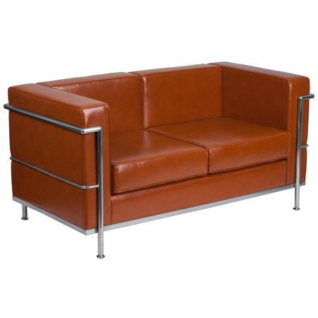 Flash Furniture HERCULES Regal Series Contemporary Cognac Leather Loveseat with Encasing Frame(base UPC 0084725401842)