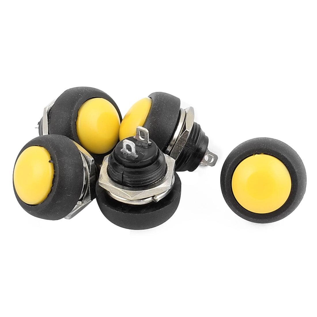 5Pcs 12mm Thread SPST Push Button Switch Momentary Type Plastic Head
