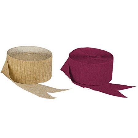 Dark Metallic Gold and Maroon Burgundy Crepe Paper Streamers (2 Rolls Each Color) MADE IN - Maroon And Gold Graduation Decorations