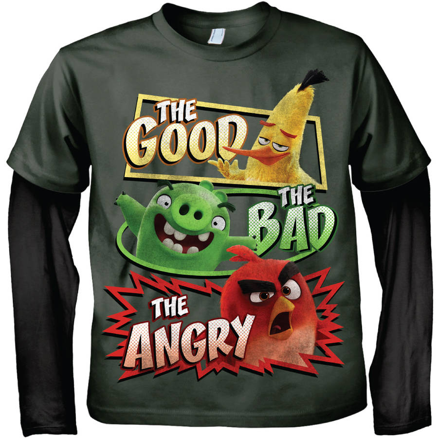 Angry Birds Good, Bad, Angry Long Sleeve 2fer Graphic Tee T-Shirt