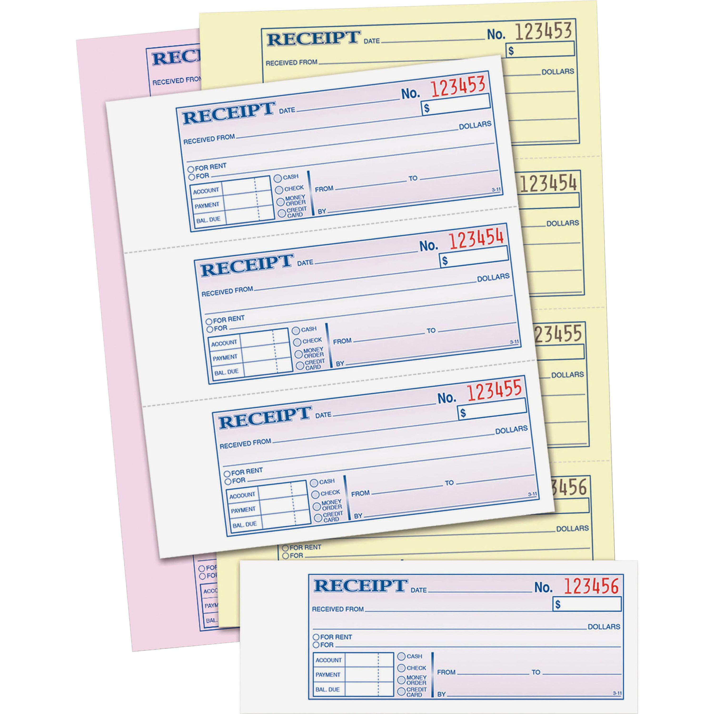 adams tc tape bound money rent receipt book sheet s adams tc1182 tape bound money rent receipt book 100 sheet s tape bound 3 part carbonless 2 75 x 7 62 form size assorted 1each tc1182