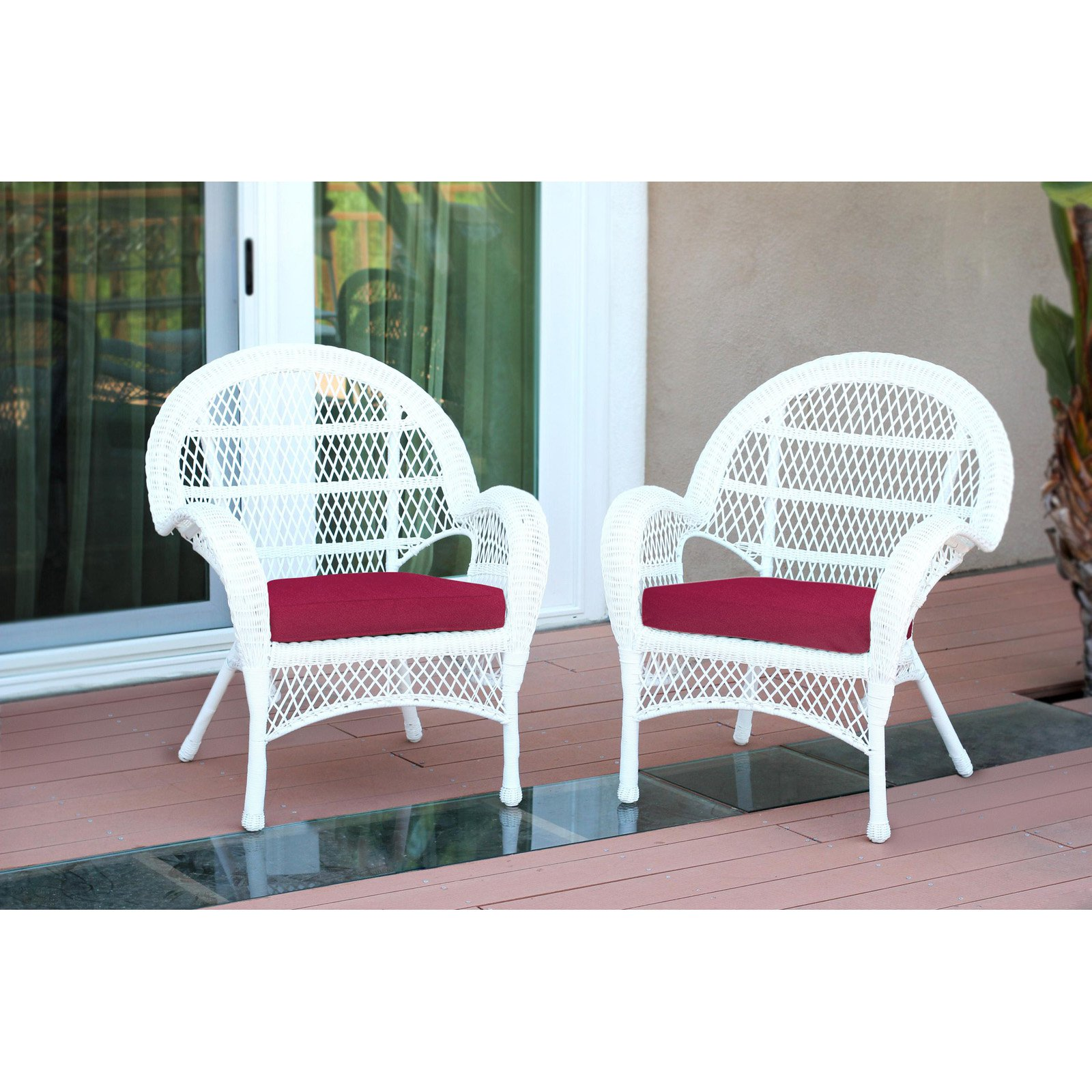 Jeco Santa Maria Wicker Patio Chairs with Optional Cushion - Set of 2
