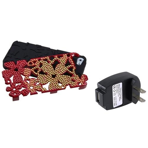 Insten Red/Black Flowerpower Hybrid Case withs For iPhone 5 + USB Travel Charger
