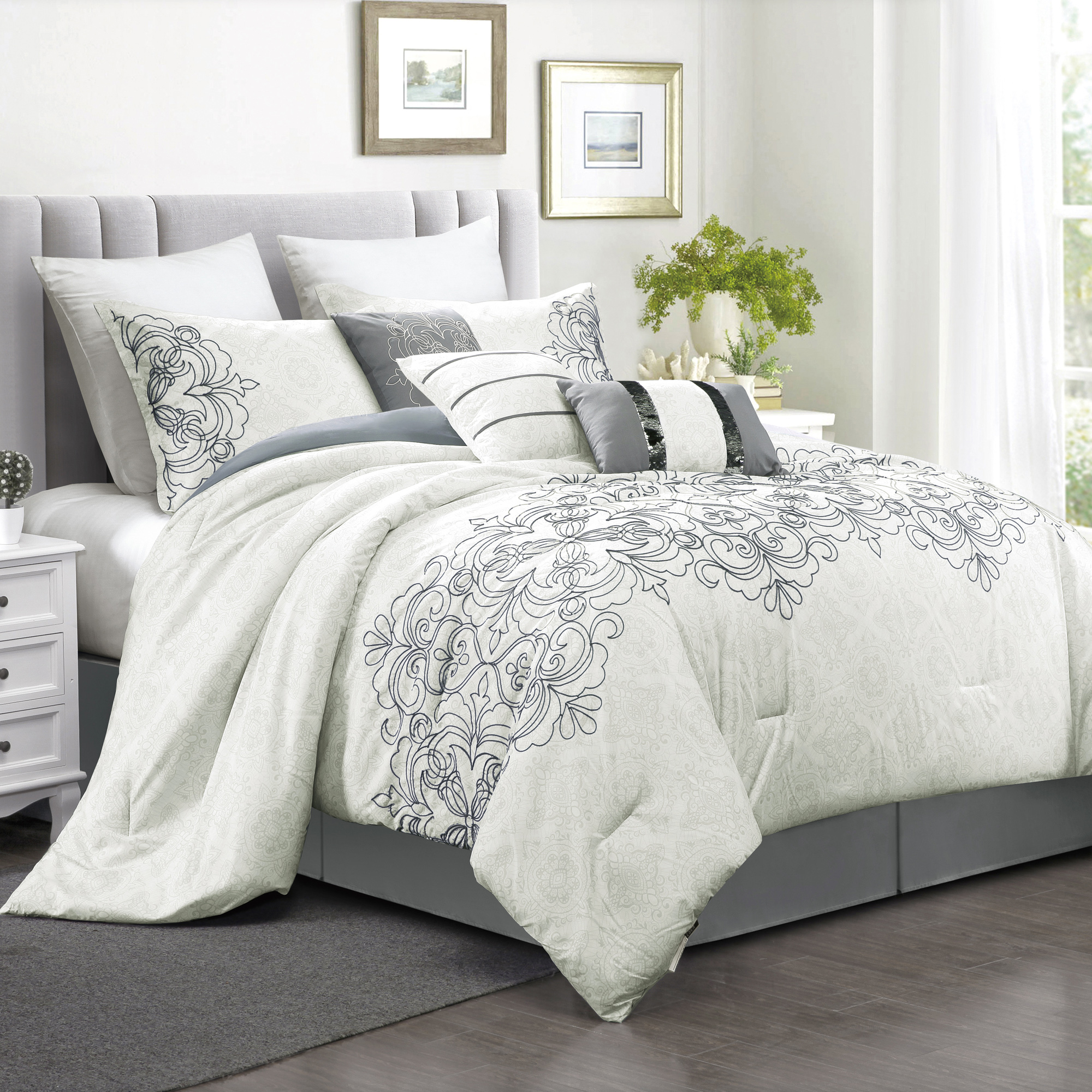 7pc Comforter Set bed-in-a-bag Queen King Cal King Size Luxury Stripe Soft