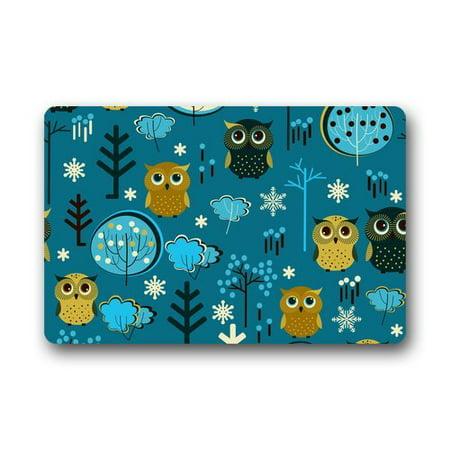 CADecor Cute Cartoon Owl Collection Fashion Print Blue Doormat Mat 23.6x15.7 inches
