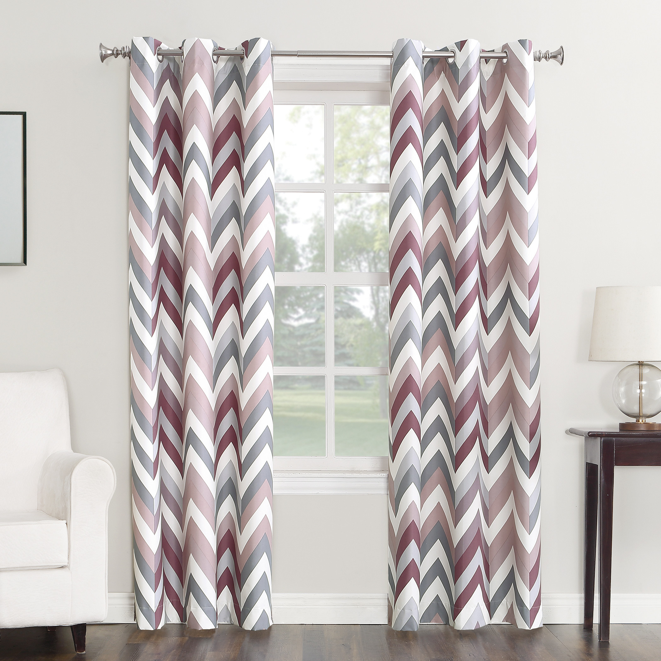 Sun Zero Largo Chevron Print Thermal Insulated Energy Efficient Curtain Panel by S. Lichtenberg & Co.