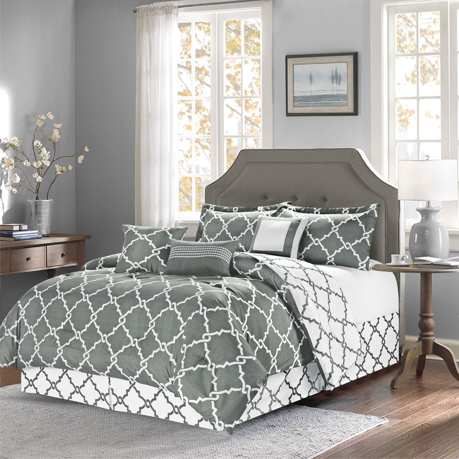 7-Piece Reversible Geometric Galaxy Comforter Set Oversized Gray - King Size