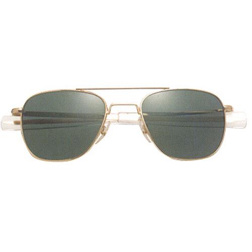 AO Original Pilot Sunglasses with 52mm Bayonet Temples and Color Correct Gray Polarized Polycarbonate Lenses
