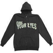 Close Your Eyes Men's  Scary Zippered Hooded Sweatshirt Black