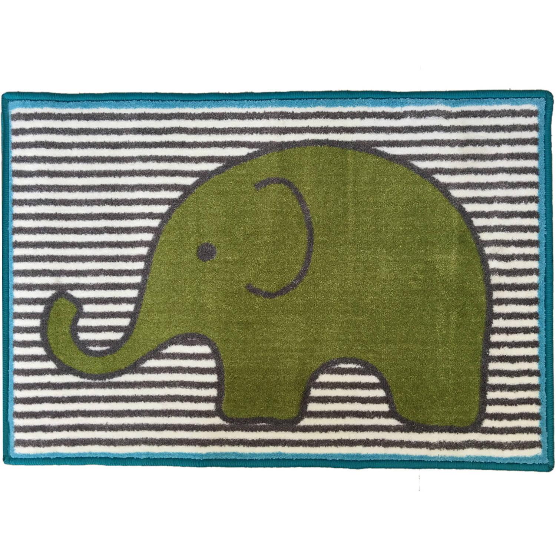 Bacati - Elephants Rug 24 x 36 inches Nylon with nonskid backing, Aqua/Lime/Gray