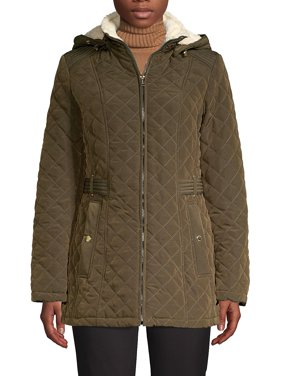 Faux Fur-Trim Quilted Hooded Coat