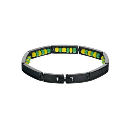 Black Stainless Steel Ilde de Orula Bracelet Santeria Green Yellow Babalawo - Bracelet Light