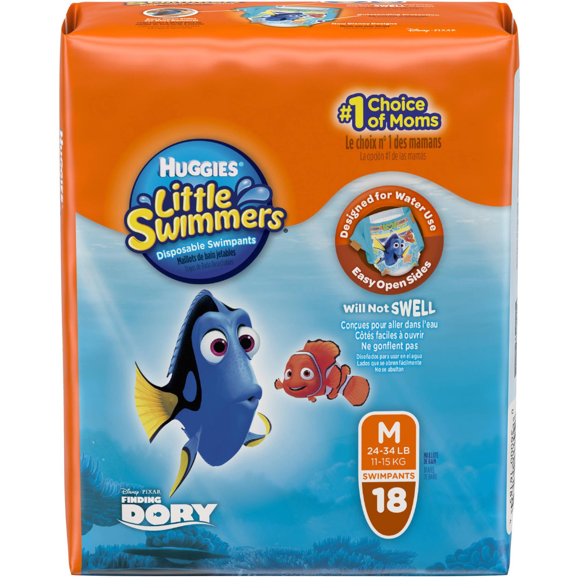 Huggies Little Swimmers Disposable Diaper Swim Pants, Size Medium, 18 Count
