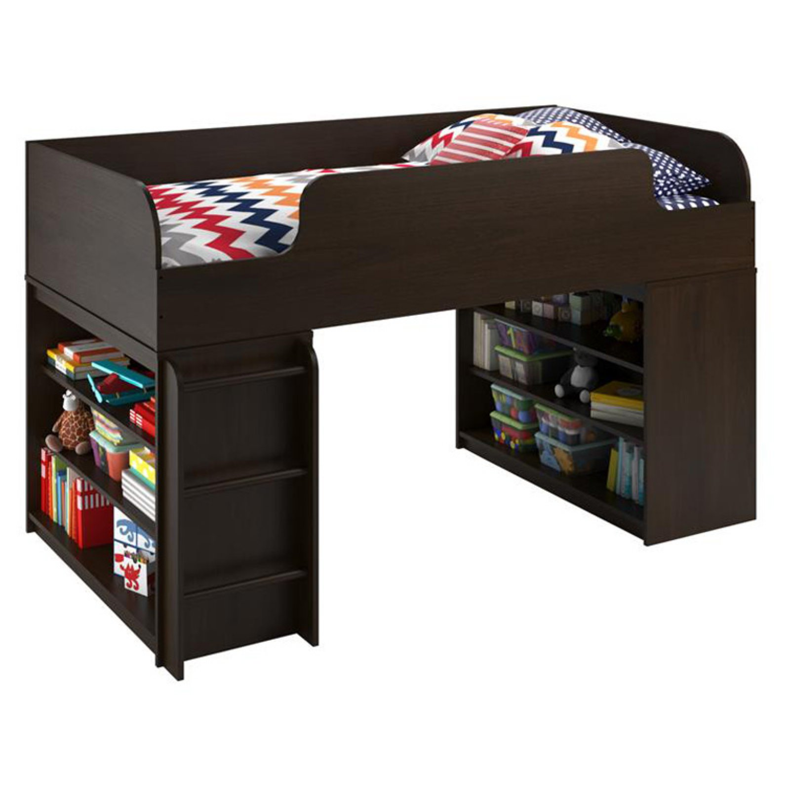 Ameriwood Home Elements Loft Bed with 2 Bookcases, Dark Cherry