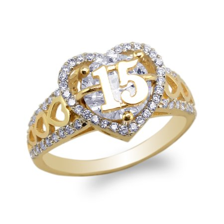 10K Yellow Gold 15 Anos Quinceanera Beautiful Heart Shaped CZ Ring Size 4-10