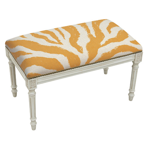 Image of 123 Creations Animal Print Upholstered and Wood Bench