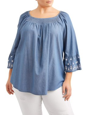 57e438da48162 Product Image Women s Plus Size Woven Peasant Top