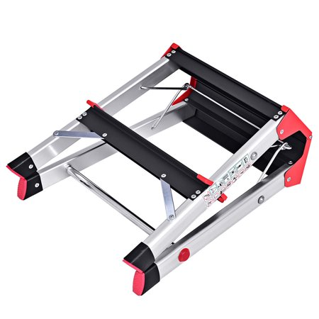 Gymax Folding Aluminum Lightweight Ladder 2 Step Non Slip