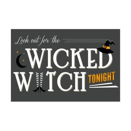 Look Out for the Wicked Witch - Happy Halloween Print Wall Art By Lantern Press (Happy Halloween Clip Art)