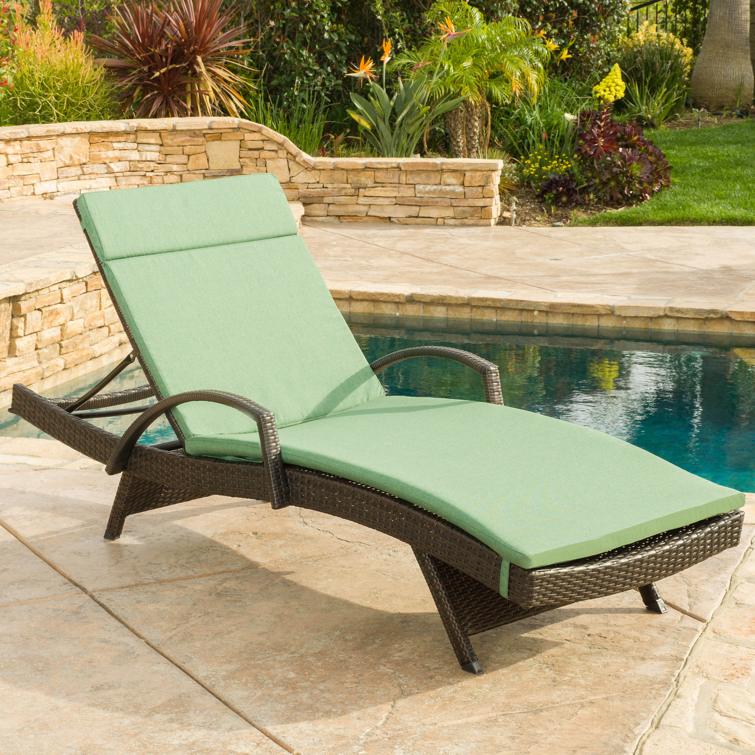 Stratford Outdoor Wicker Adjustable Armed Chaise Lounge with Cushion, Multiple Colors
