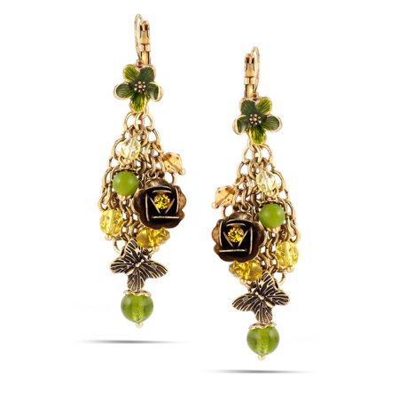 (TAZZA WOMEN'S GOLD GREEN FLOWER CRYSTAL DROP EARRINGS)